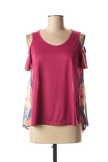 T-shirt manches courtes violet SMASH WEAR pour femme