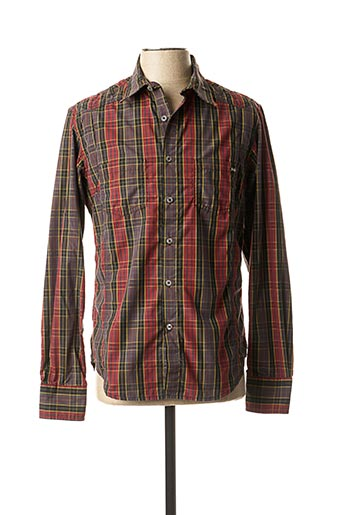 Chemise manches longues rouge FREESOUL pour homme
