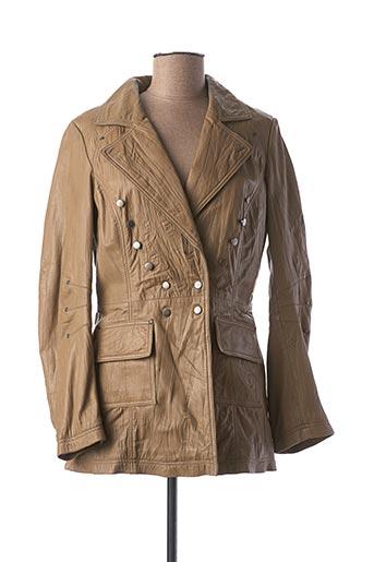 Veste en cuir beige DAYTONA pour femme
