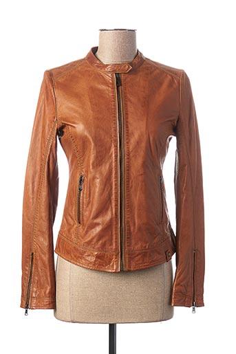 Veste en cuir marron D73 pour femme