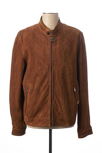 Veste en cuir marron TERRITOIRE D'HOMME pour homme
