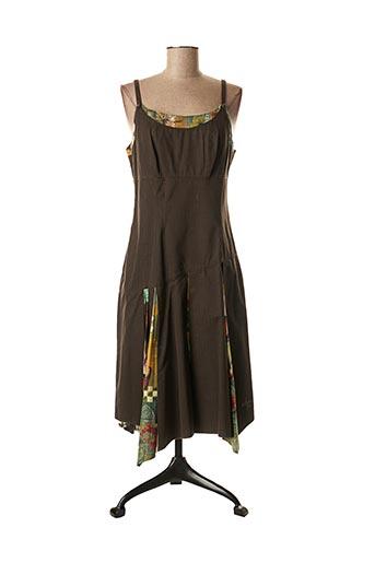 Robe mi-longue marron AVENTURES DES TOILES pour femme