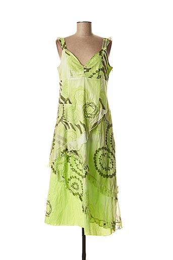 Robe mi-longue vert POUSSIERE D'ETOILE pour femme