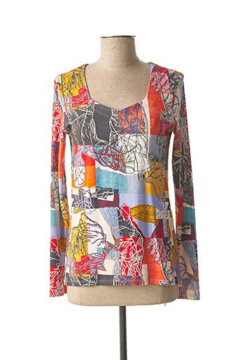 T-shirt manches longues orange AVENTURES DES TOILES pour femme