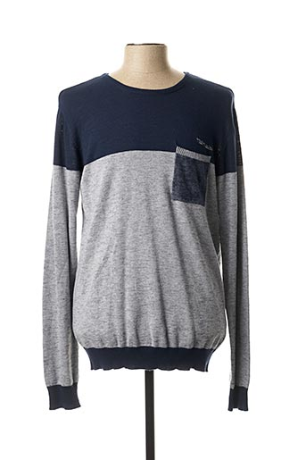 Pull col rond bleu TEDDY SMITH pour homme