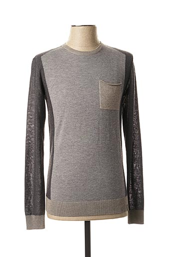 Pull col rond gris TEDDY SMITH pour homme
