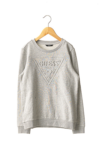 Pull col rond gris GUESS pour fille