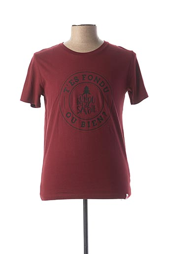 T-shirt manches courtes rouge FONDU DE SAVOIE pour homme