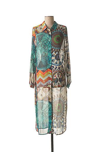 Tunique manches longues bleu DESIGUAL pour femme