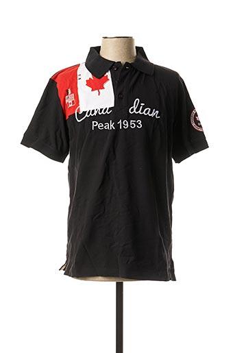 Polo manches courtes noir CANADIAN PEAK pour homme