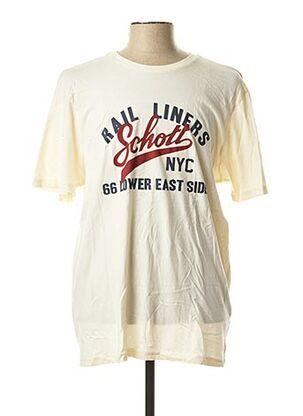T-shirt manches courtes beige SCHOTT pour homme