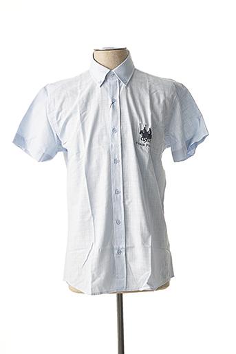 Chemise manches courtes bleu FRANK FERRY pour homme