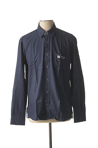 Chemise manches longues bleu FRANK FERRY pour homme