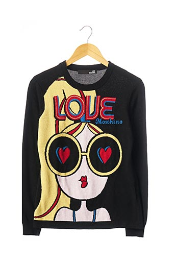 Pull col rond noir LOVE MOSCHINO pour femme