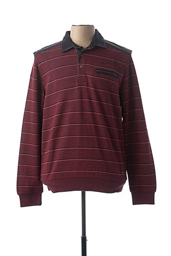 Polo manches longues rouge MONTE CARLO pour homme