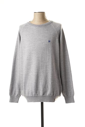 Pull col rond gris ARISTOW pour homme
