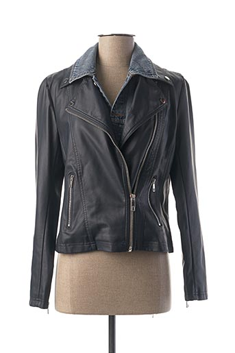 Veste simili cuir bleu ESCANDELLE pour femme