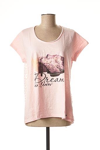 T-shirt manches courtes rose FELINO pour femme