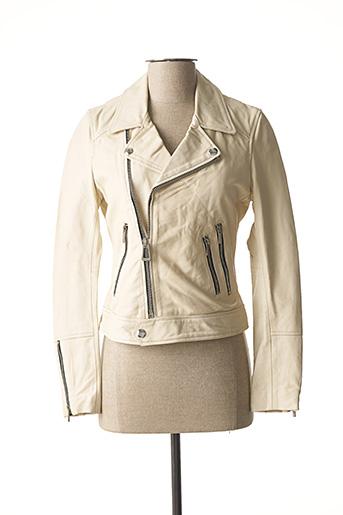 Veste en cuir blanc ROSE GARDEN pour femme
