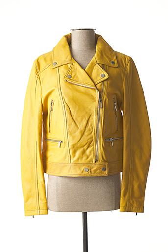 Veste en cuir jaune ROSE GARDEN pour femme