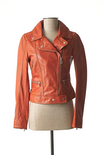 Veste en cuir orange ROSE GARDEN pour femme