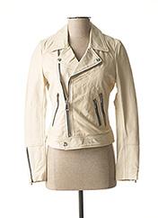 Veste en cuir blanc ROSE GARDEN pour femme seconde vue