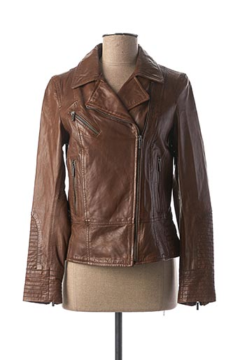 Veste en cuir marron ROSE GARDEN pour femme