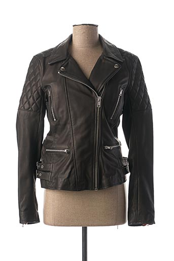 Veste en cuir noir D73 pour femme