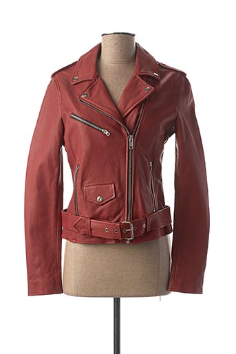 Veste en cuir rouge D73 pour femme