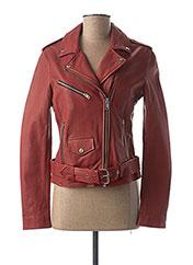 Veste en cuir rouge D73 pour femme seconde vue