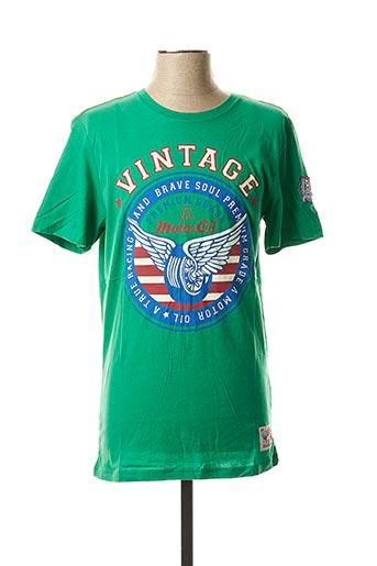 T-shirt manches courtes vert BRAVE SOUL pour homme