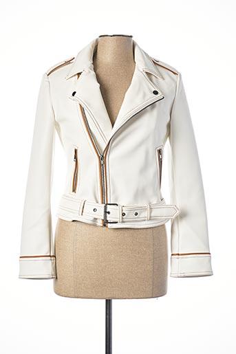Veste simili cuir blanc SISLEY pour femme