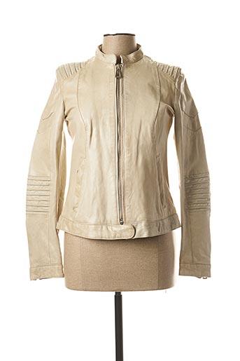 Veste en cuir beige ROSE GARDEN pour femme