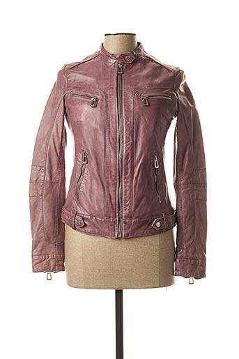 Veste en cuir violet ROSE GARDEN pour femme