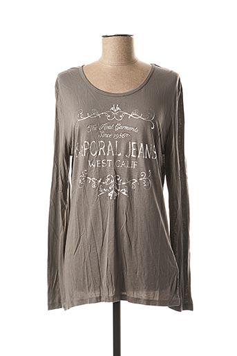 T-shirt manches longues gris KAPORAL pour femme