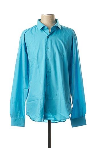 Chemise manches longues bleu CANOTTI COUTURE pour homme