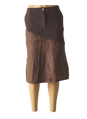 Jupe mi-longue marron BE THE QUEEN pour femme