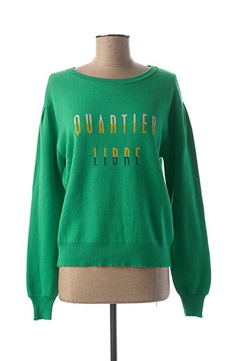 Pull col rond vert AN' GE pour femme