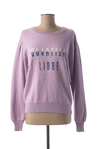 Pull col rond violet AN' GE pour femme