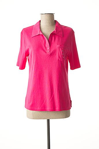 Polo manches longues rose GRIFFON pour femme