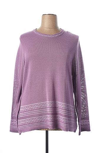 Pull col rond violet FRANCOISE F pour femme