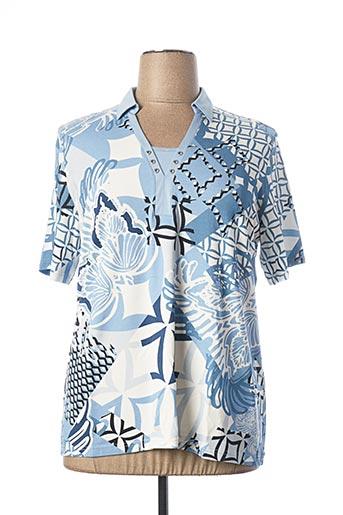 T-shirt manches courtes bleu FRANK WALDER pour femme