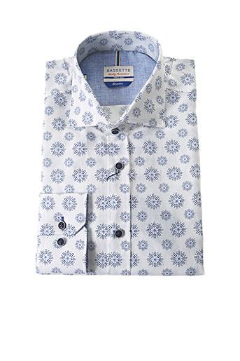Chemise manches longues blanc BASSETTE pour homme