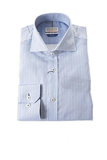 Chemise manches longues bleu BASSETTE pour homme