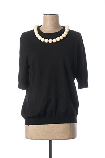 Pull col rond noir MOSCHINO pour femme
