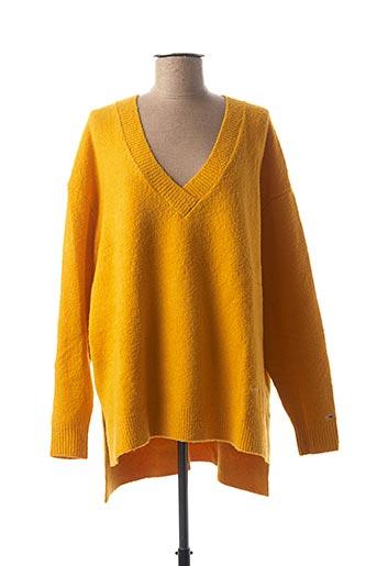 Pull tunique jaune TOMMY HILFIGER pour femme