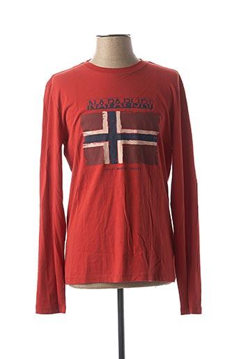 T-shirt manches longues rouge NAPAPIJRI pour homme