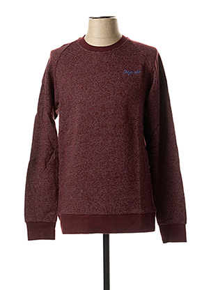 Pull col rond rouge JACK & JONES pour homme