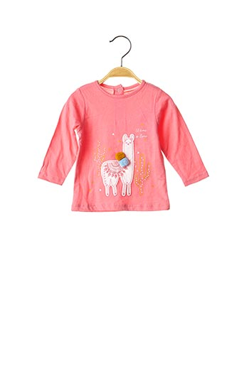 T-shirt manches longues rose GRAIN DE BLÉ pour fille