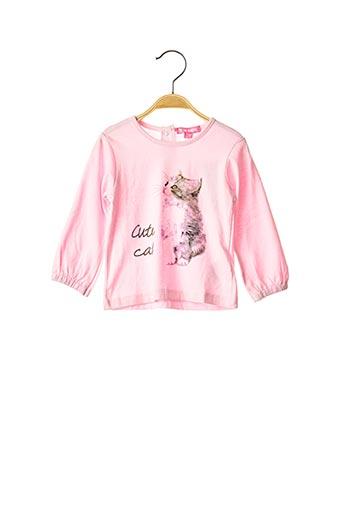 T-shirt manches longues rose PIK OUIC pour fille